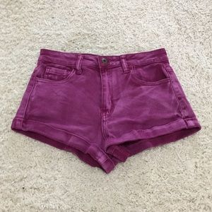 Forever21 High-Waisted Neon Purple Denim Shorts
